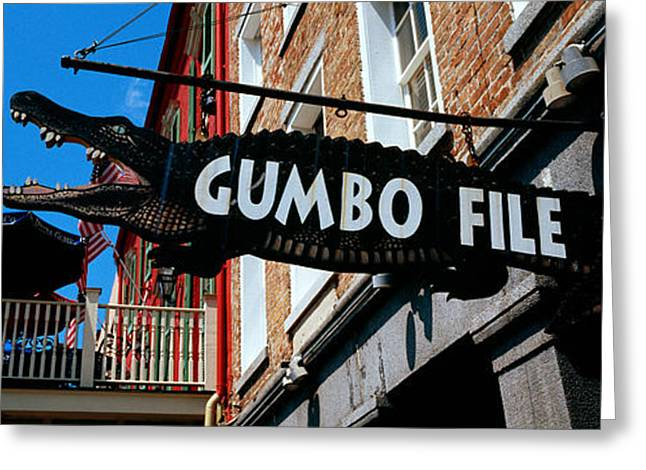Gumbo Greeting Cards - Signboard Outside Of A Restaurant Greeting Card by Panoramic Images
