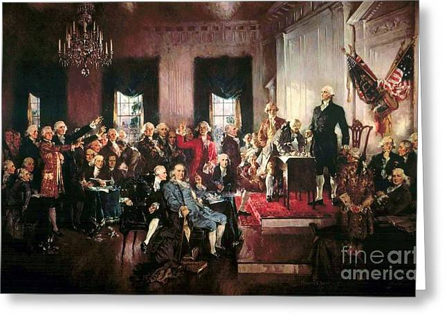 U S Founding Father Greeting Cards - Signing of the United States Constitution Greeting Card by Pg Reproductions