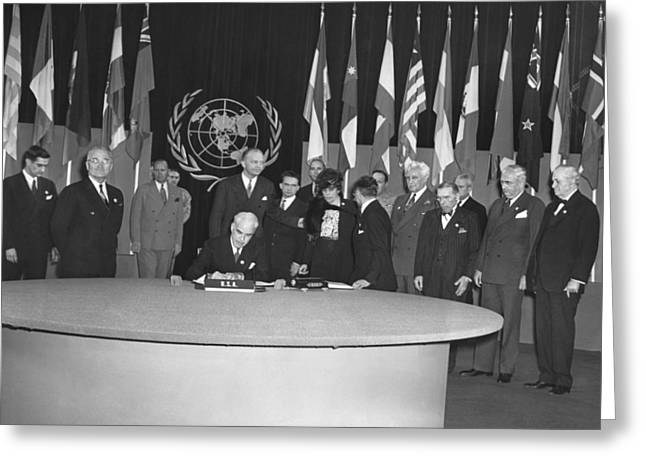 Signing Of Un Charter Greeting Card by Underwood Archives