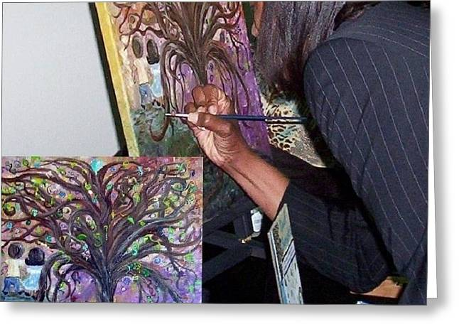Signing The Tree With Jackie Joyner- Kersee  Greeting Card by Eloise Schneider