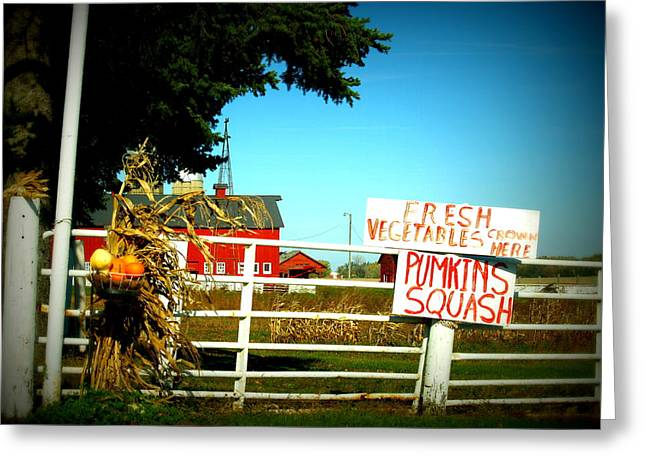 Farm Stand Greeting Cards - Signs By Hand Greeting Card by Sheryl Smith