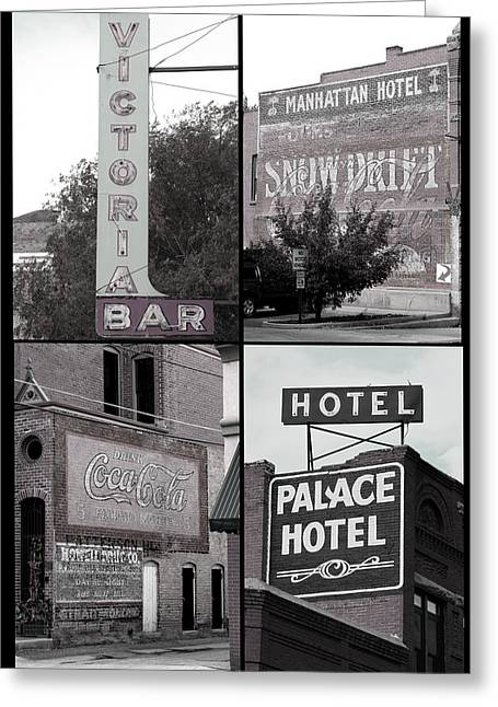 Ghost Signs Greeting Cards - Signs in Salida photography collage Greeting Card by Ann Powell