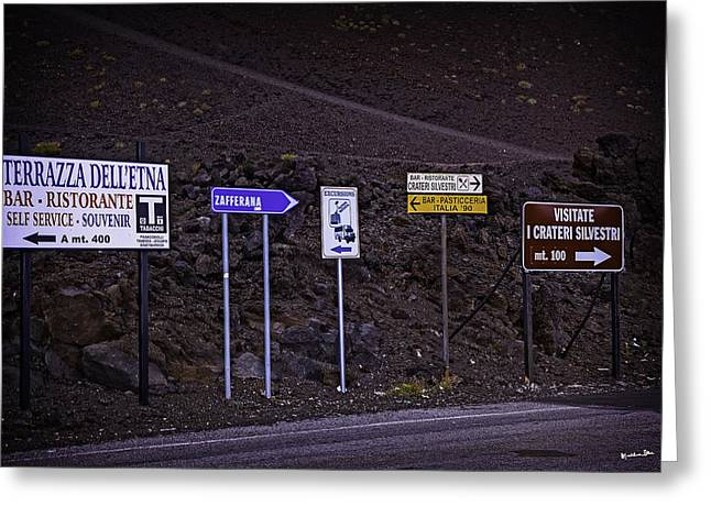 Mountain Road Greeting Cards - Signs of a Crater - Sicily Greeting Card by Madeline Ellis