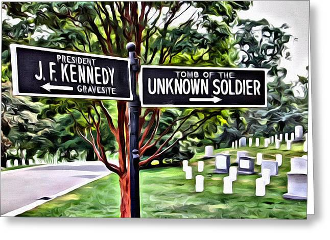 Soldiers National Cemetery Digital Art Greeting Cards - Signs of Arlington Greeting Card by Alice Gipson