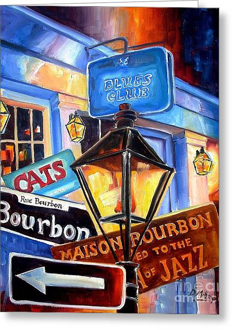 Louisiana Greeting Cards - Signs of Bourbon Street Greeting Card by Diane Millsap