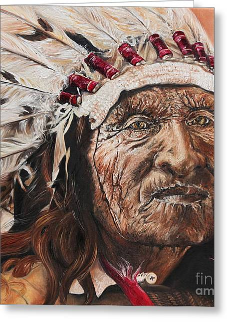 Native American Spirit Portrait Paintings Greeting Cards - Signs of His Times Greeting Card by Annalise Kucan