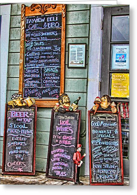 Menu Greeting Cards - Signs of Monterey by Diana Sainz Greeting Card by Diana Sainz