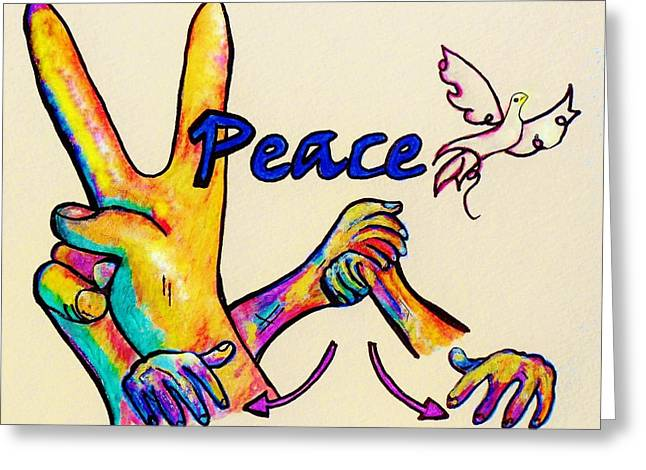 Peace Sign Greeting Cards - Signs Of Peace Greeting Card by Eloise Schneider