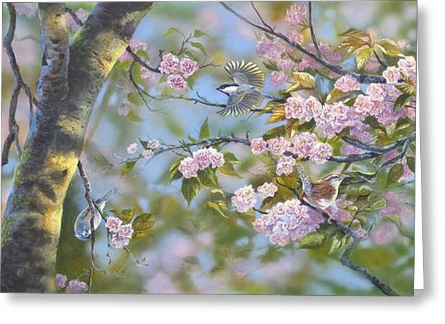 Spring Scenes Drawings Greeting Cards - Signs of Spring Greeting Card by Michael Ashmen
