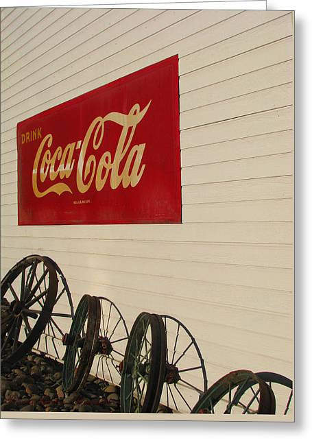 Coca Cola.coke-a-cola Greeting Cards - Wheels Go Better With Coke Greeting Card by Brooks Garten Hauschild