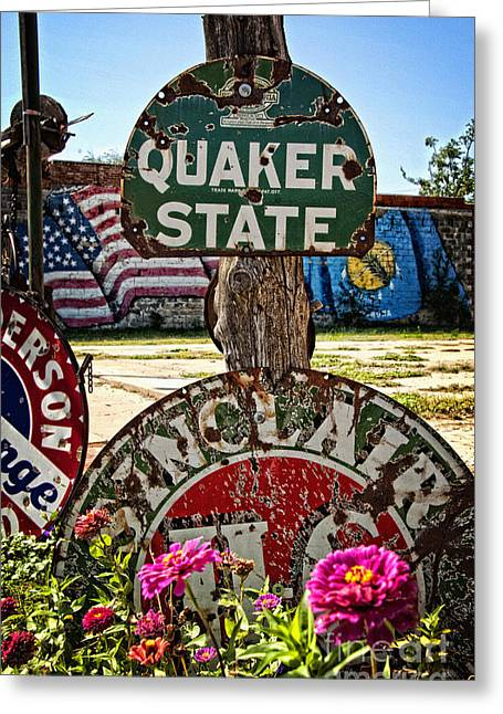 Quaker Greeting Cards - Signs of the Times on Route 66 Greeting Card by Lee Craig
