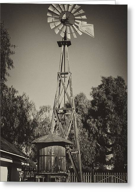 Adobe Wells Greeting Cards - Sikes Antique Windmill Greeting Card by Guy Shultz