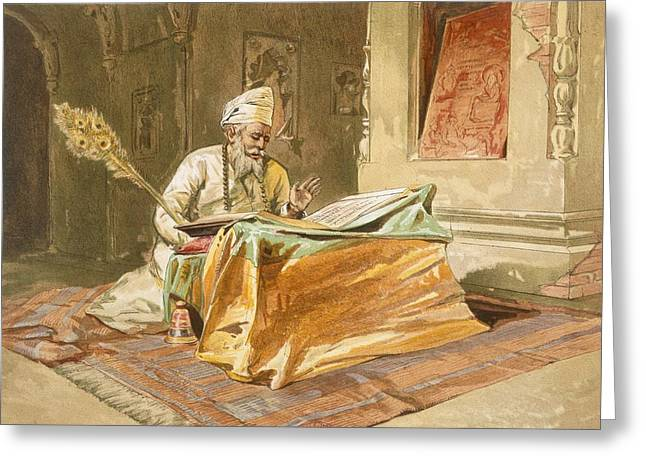 Indian Drawings Greeting Cards - Sikh Priest Reading The Grunth Greeting Card by William