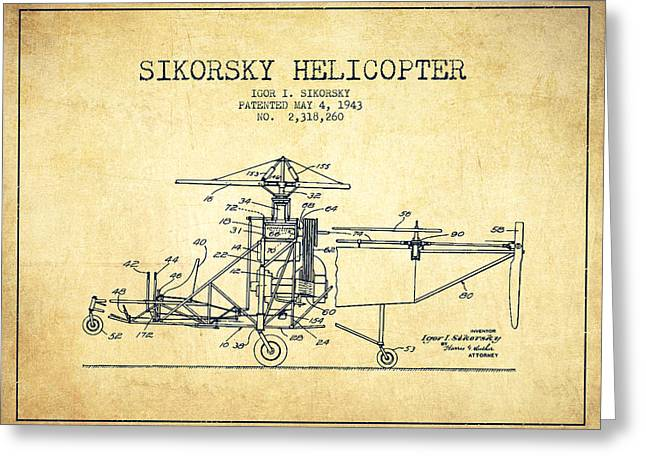 Sikorsky Helicopter Patent Drawing From 1943-vintage Greeting Card by Aged Pixel