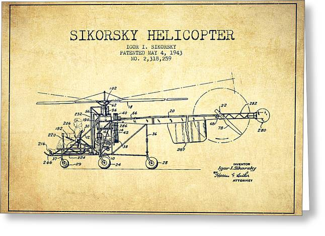 Sikorsky Helicopter Patent Drawing From 1943-vintgae Greeting Card by Aged Pixel