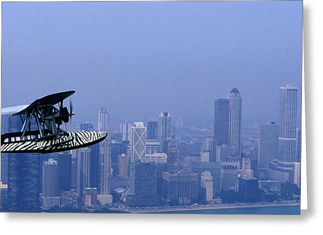 Born Again Photographs Greeting Cards - Sikorsky S-38b Replica Against The Chicago Skyline Greeting Card by Austin Brown