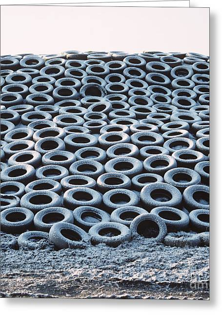 Silage Heap With Snow-covered Tires Greeting Card by Nigel Cattlin