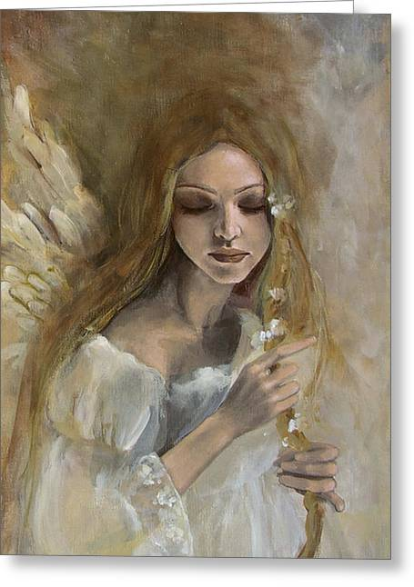 White Wing Greeting Cards - Silence Greeting Card by Dorina  Costras