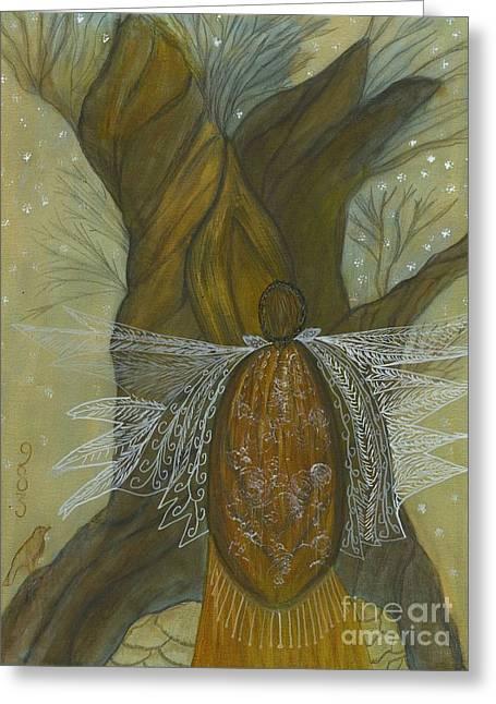 Sacred Feminine Greeting Cards - Silence Greeting Card by Nancy TeWinkel Lauren