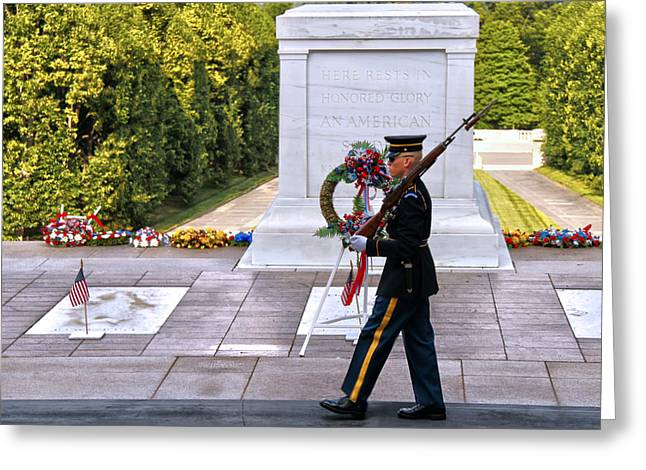 Soldiers National Cemetery Greeting Cards - Silence Sings Greeting Card by Mitch Cat