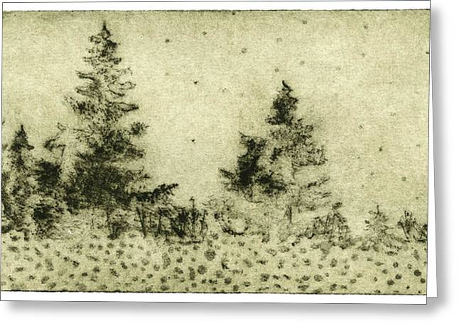 Silence Drawings Greeting Cards - Silence - The North - Landscape - Trees  - Forest - Dots - Fall - Fine Art Print - Stock Image Greeting Card by Urft Valley Art