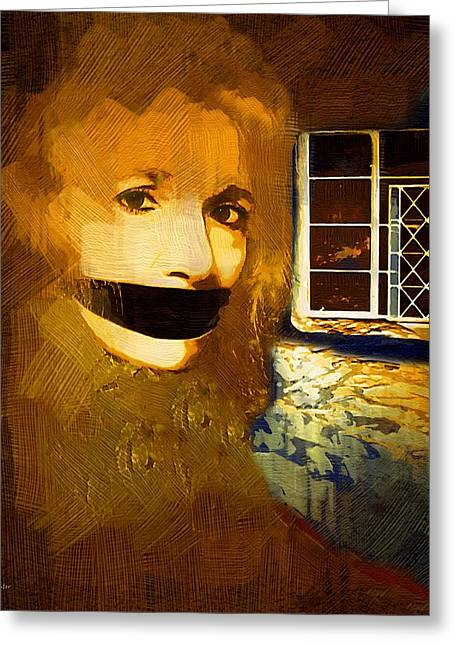 Self-portrait Greeting Cards - Silenced Greeting Card by RC DeWinter