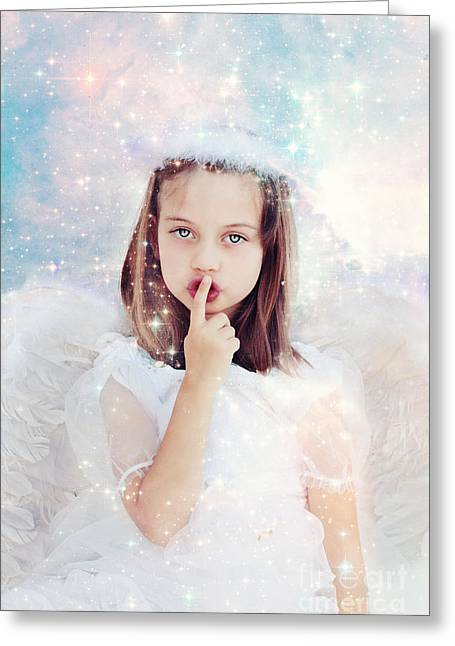 Shushing Greeting Cards - Silent Angel Greeting Card by Stephanie Frey
