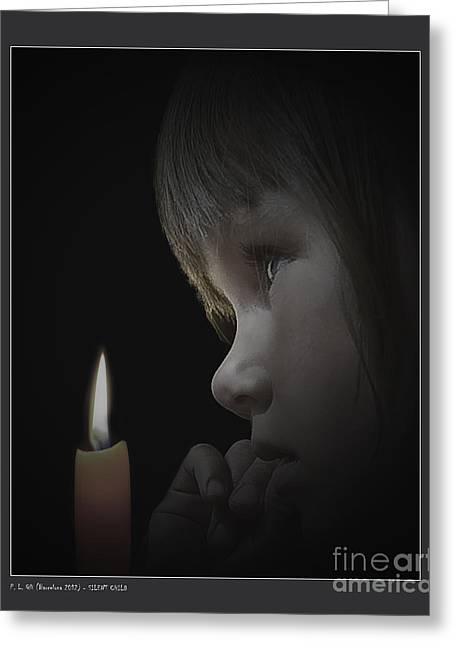 Candle Lit Greeting Cards - Silent Child Greeting Card by Pedro L Gili