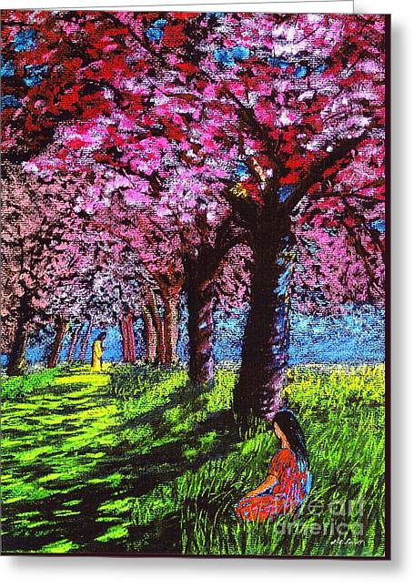 Pink Blossoms Greeting Cards - Silent Communion Greeting Card by Jane Small