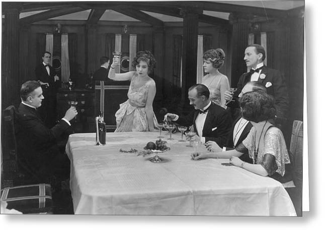 Toast Greeting Cards - Silent Film Greeting Card by Granger