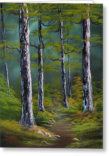 Bob Ross Paintings Greeting Cards - Quiet Pines Greeting Card by C Steele