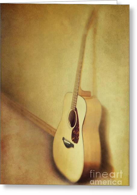 Music Time Photographs Greeting Cards - Silent Guitar Greeting Card by Priska Wettstein