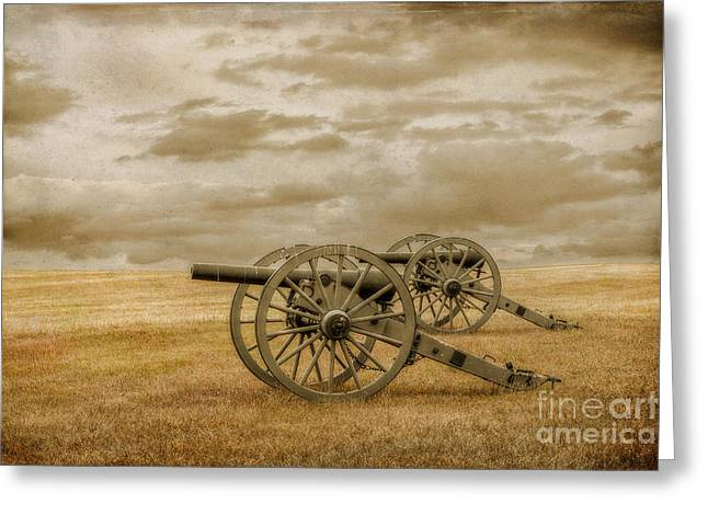 Army Of Northern Virgina Greeting Cards - Silent Guns at Gettysburg Greeting Card by Randy Steele