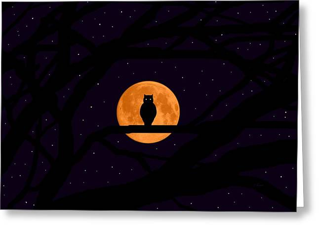 Harvest Moon Mixed Media Greeting Cards - Silent Harvest Moonlight Predator Greeting Card by L Brown