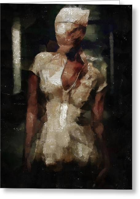 Recently Sold -  - Creepy Digital Art Greeting Cards - Silent Hill Nurse Greeting Card by Joe Misrasi