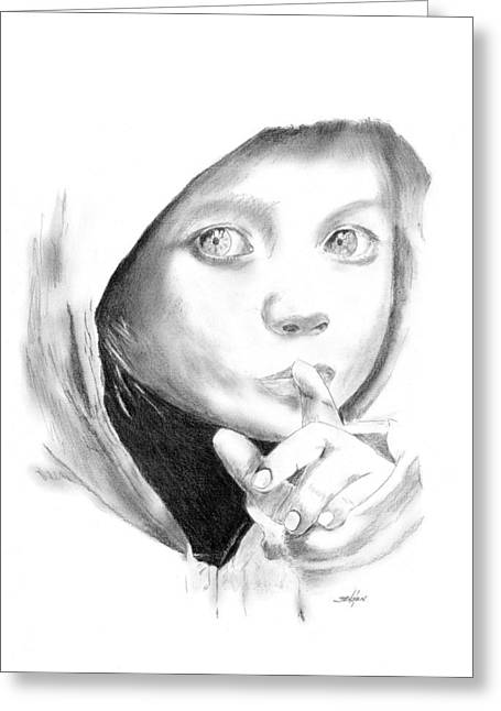 Hoodies Drawings Greeting Cards - Silent Hoodie Greeting Card by John Jensen