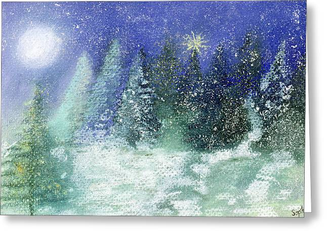 Winter Night Greeting Cards - Silent Night, 1995 Pastel On Paper Greeting Card by Sophia Elliot