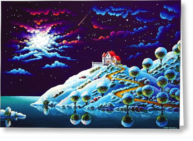 Moonlight Scene Paintings Greeting Cards - Silent Night 9 Greeting Card by Andy Russell