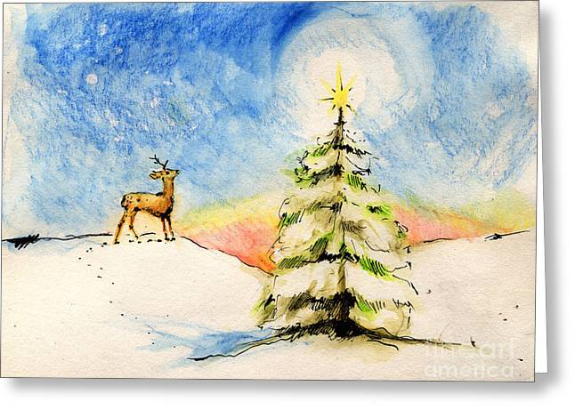 Winter Night Drawings Greeting Cards - Silent Night Greeting Card by Angel  Tarantella