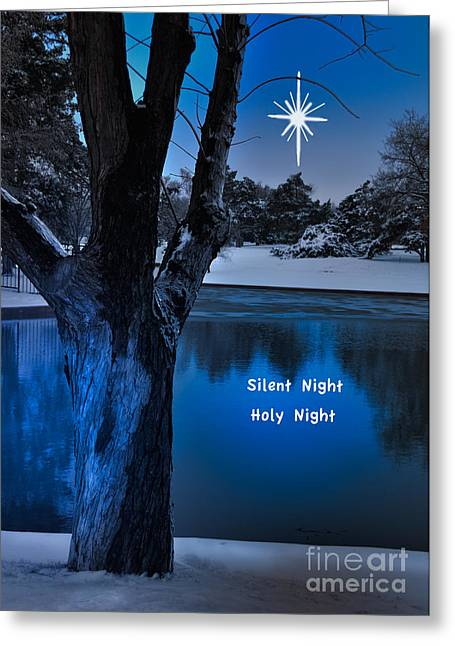Snowy Night Night Greeting Cards - Silent Night Greeting Card by Betty LaRue