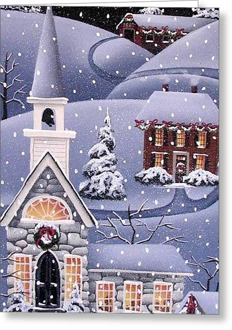 Primitive Greeting Cards - Silent Night Greeting Card by Catherine Holman