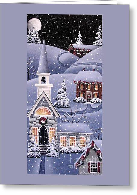 Snow Covered Village Greeting Cards - Silent Night Greeting Card by Catherine Holman