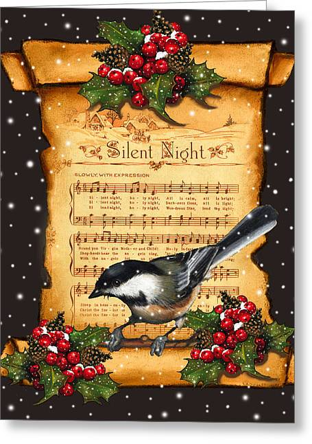 Joyce Geleynse Greeting Cards - Silent Night Christmas Greeting Card With Bird Greeting Card by Joyce Geleynse