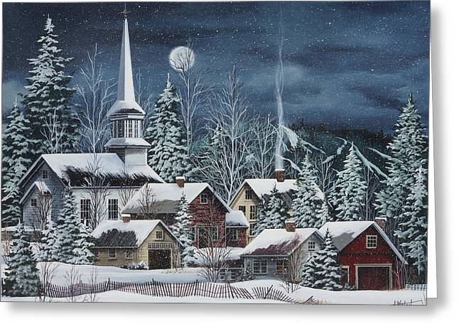 New England Village Scene Greeting Cards - Silent Night Greeting Card by Debbi Wetzel