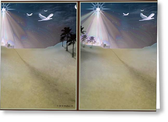 Child Jesus Greeting Cards - Silent Night - Gently cross your eyes and focus on the middle image Greeting Card by Brian Wallace