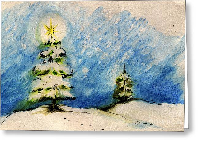 Winter Night Drawings Greeting Cards - Silent Night Holy Night Greeting Card by Angel  Tarantella
