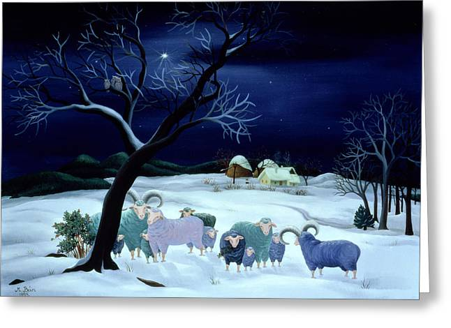 White Sheep Greeting Cards - Silent Night Holy Night Greeting Card by Magdolna Ban