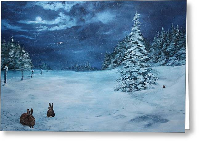 Jean Walker Greeting Cards - Silent Night Greeting Card by Jean Walker