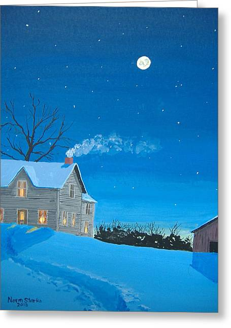 Winter Night Greeting Cards - Silent Night Greeting Card by Norm Starks