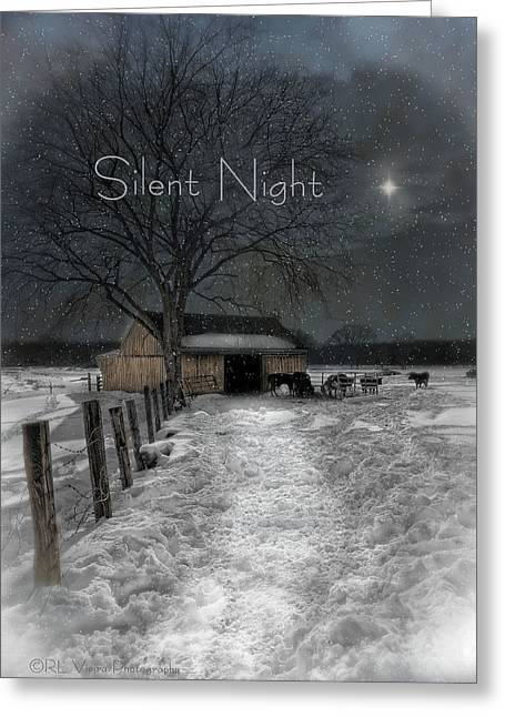 Silent Night Greeting Cards - Silent Night Greeting Card by Robin-lee Vieira